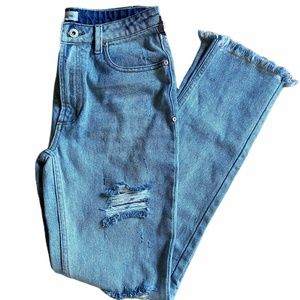 Dance & Marvel High Rise Distressed Frayed Jeans